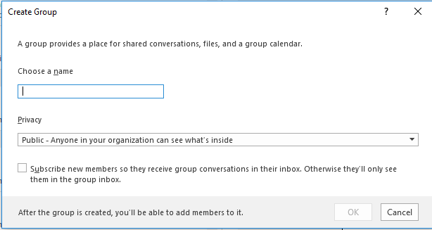 how to create groups in email outlook